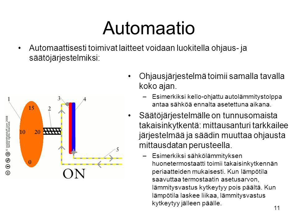 Automaatio Automaattisesti toimivat laitteet voidaan luokitella ohjaus- ja säätöjärjestelmiksi: Ohjausjärjestelmä toimii samalla tavalla koko ajan.