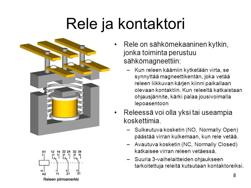 Rele ja kontaktori Rele on sähkömekaaninen kytkin, jonka toiminta perustuu sähkömagneettiin: