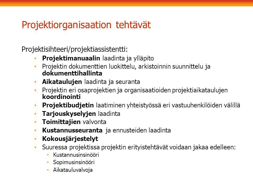 Projektiorganisaation tehtävät