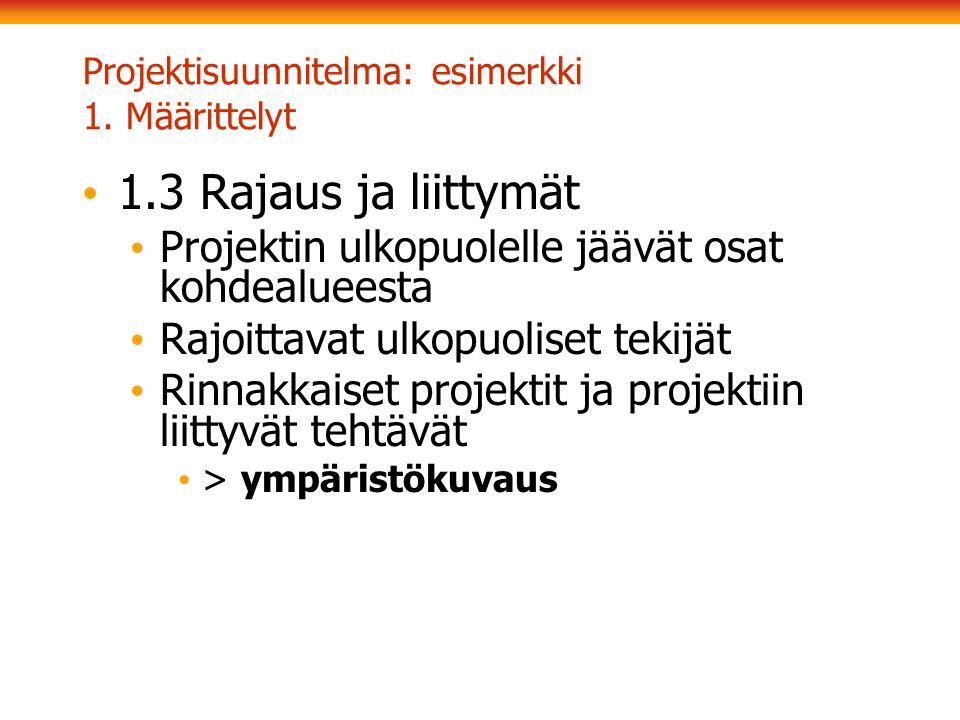 Projektisuunnitelma: esimerkki 1. Määrittelyt