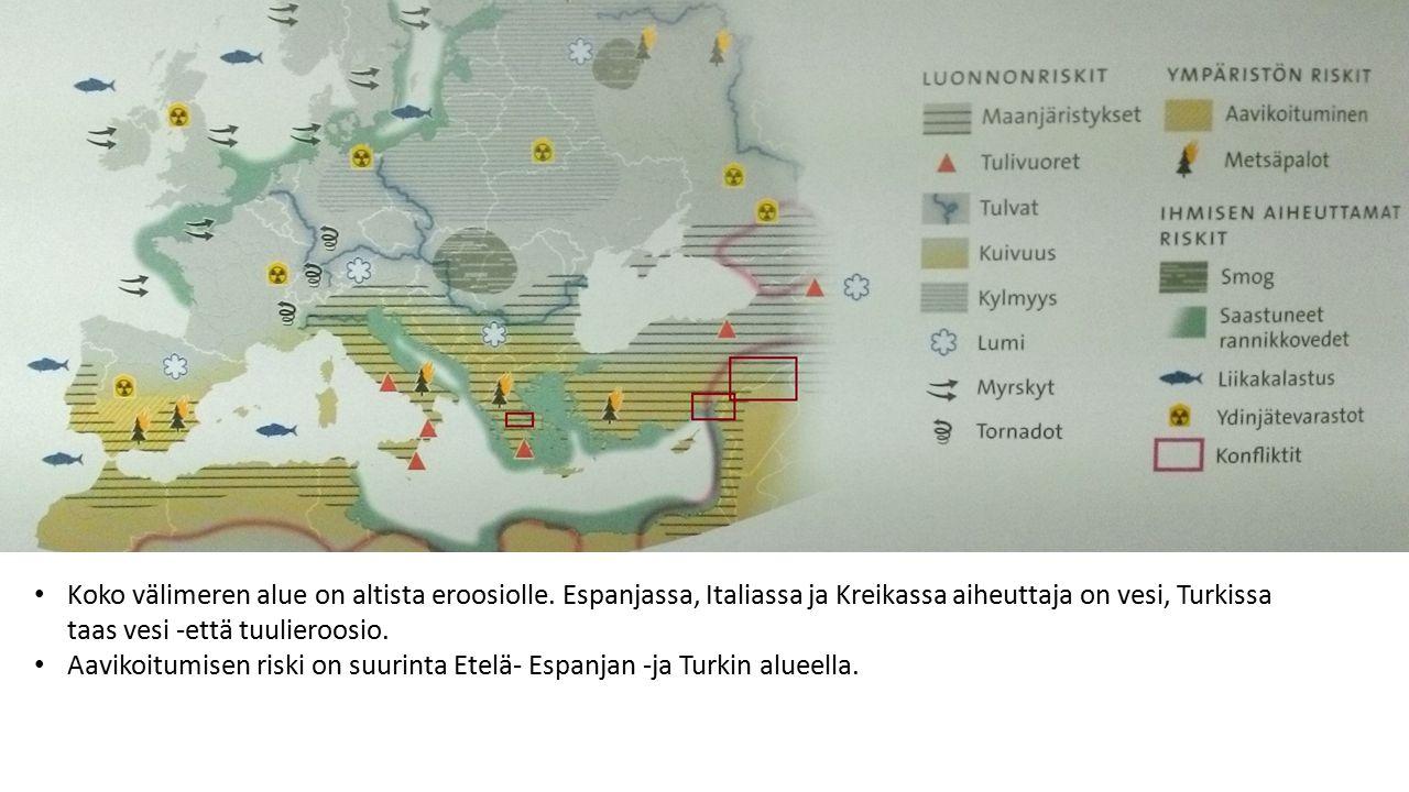 Koko välimeren alue on altista eroosiolle