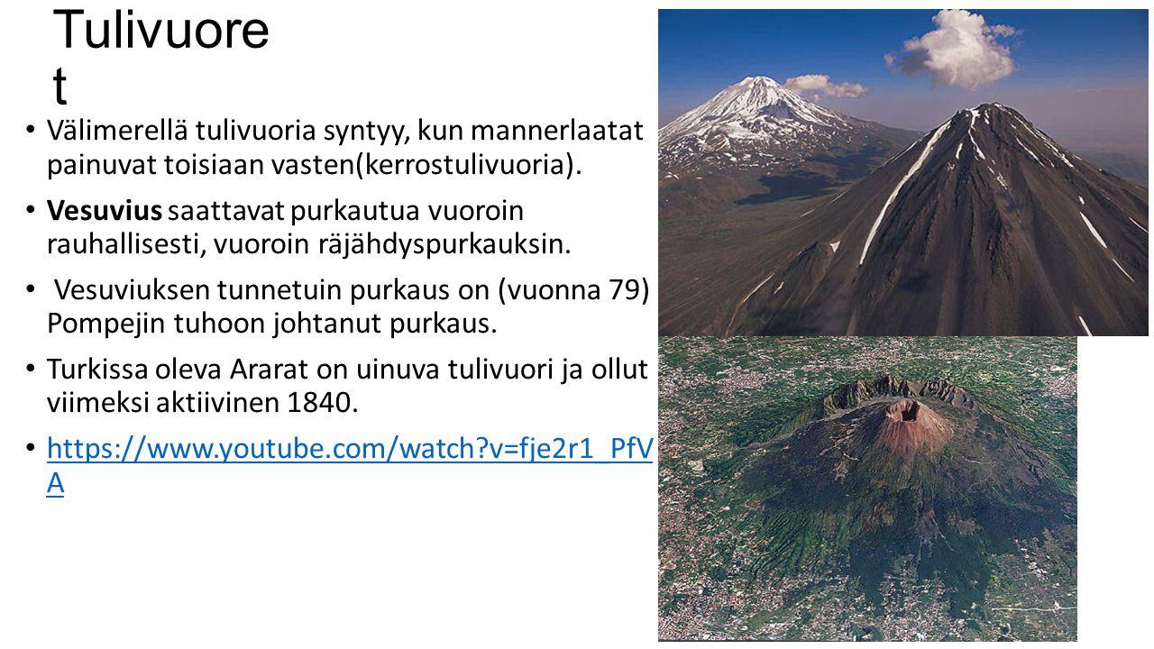 Tulivuoret Välimerellä tulivuoria syntyy, kun mannerlaatat painuvat toisiaan vasten(kerrostulivuoria).