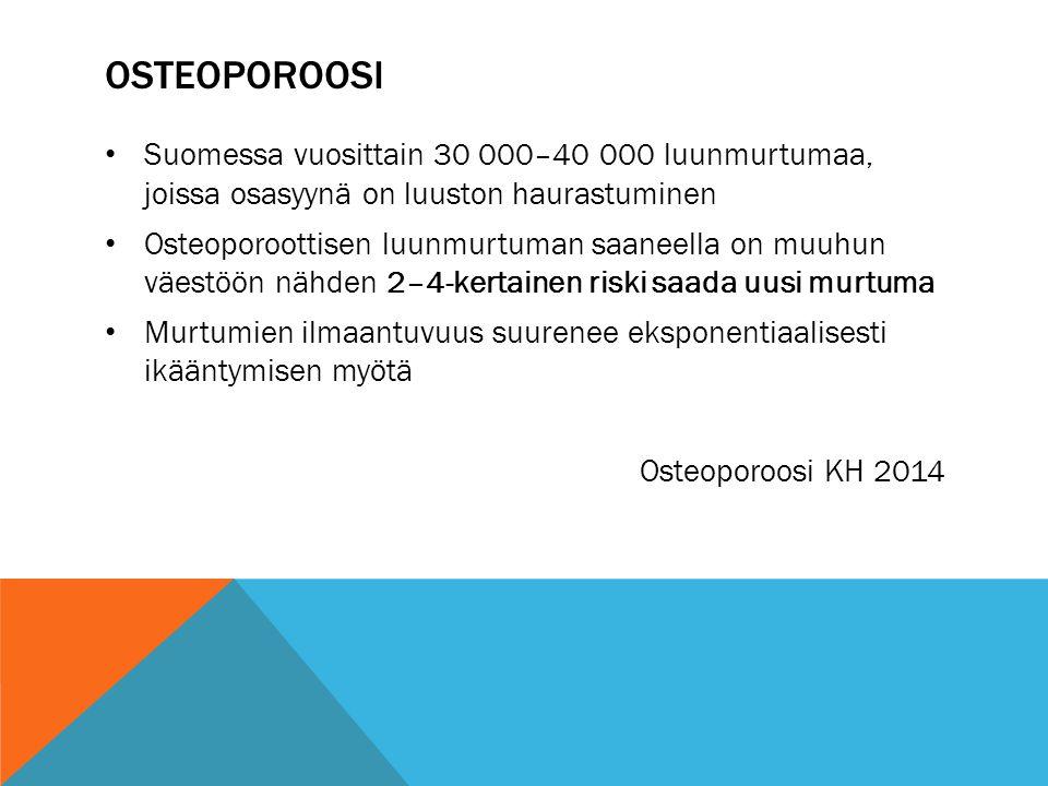 osteoporoosi Suomessa vuosittain 30 000–40 000 luunmurtumaa, joissa osasyynä on luuston haurastuminen.