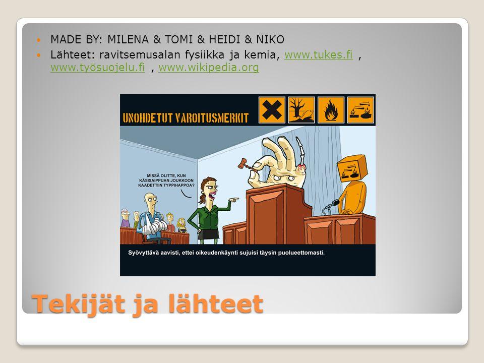 Tekijät ja lähteet MADE BY: MILENA & TOMI & HEIDI & NIKO