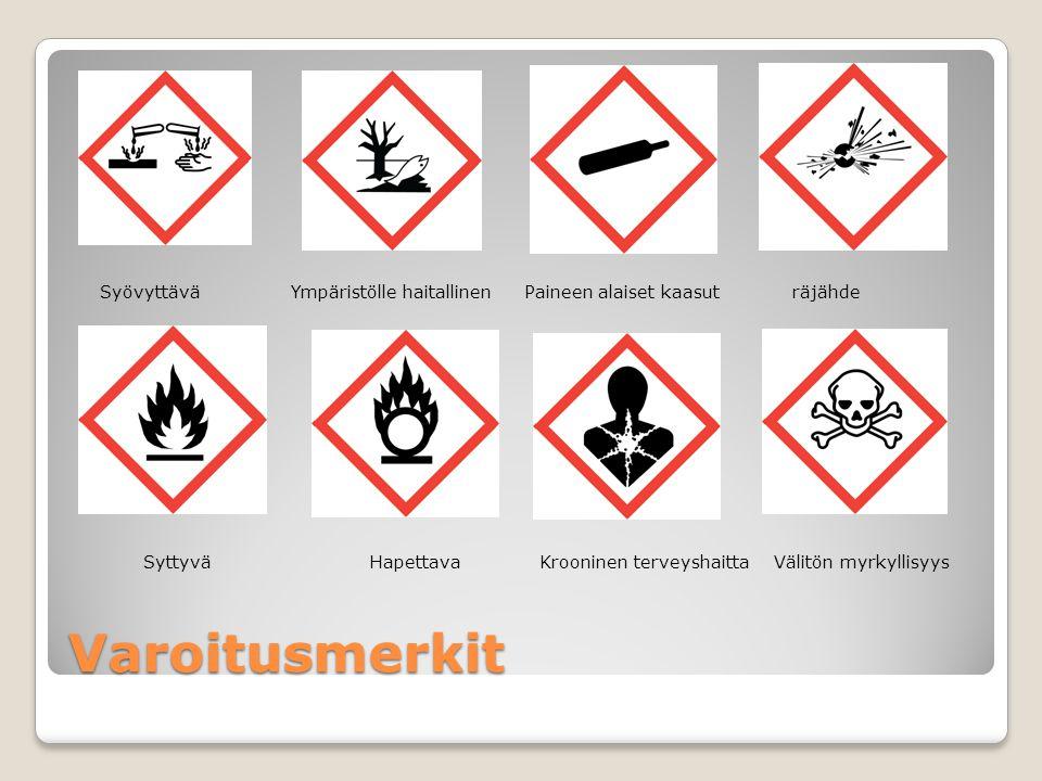 Syövyttävä Ympäristölle haitallinen Paineen alaiset kaasut räjähde