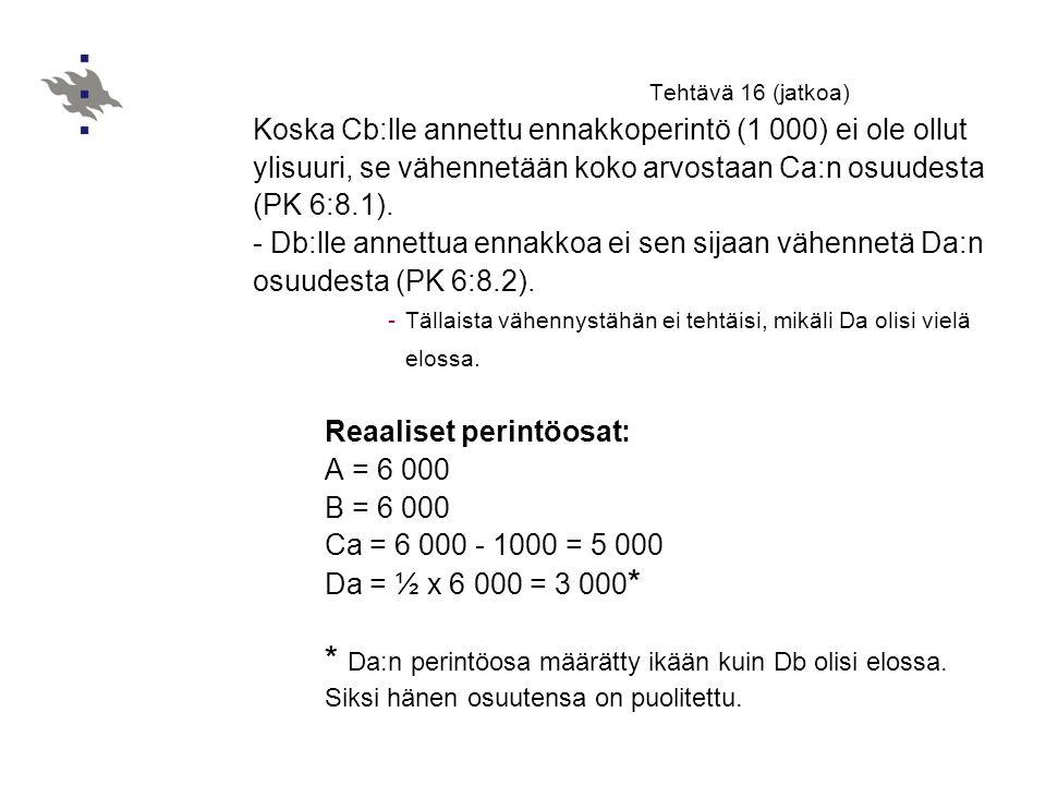 Tehtävä 16 (jatkoa) Koska Cb:lle annettu ennakkoperintö (1 000) ei ole ollut ylisuuri, se vähennetään koko arvostaan Ca:n osuudesta (PK 6:8.1).