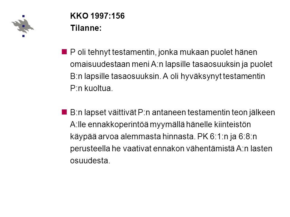 KKO 1997:156 Tilanne: