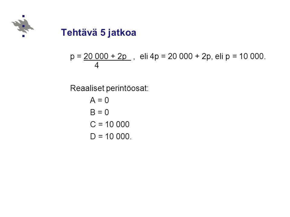 Tehtävä 5 jatkoa p = 20 000 + 2p , eli 4p = 20 000 + 2p, eli p = 10 000. 4. Reaaliset perintöosat: