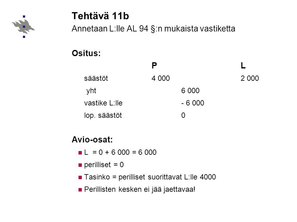 Annetaan L:lle AL 94 §:n mukaista vastiketta