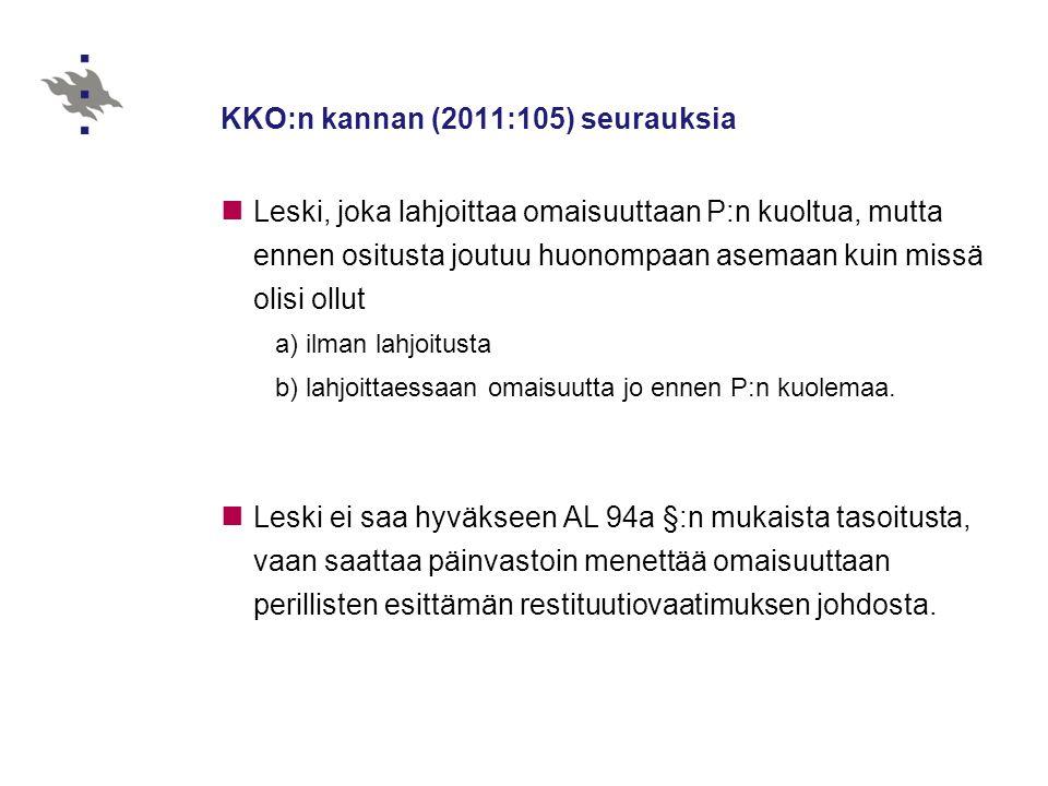 KKO:n kannan (2011:105) seurauksia