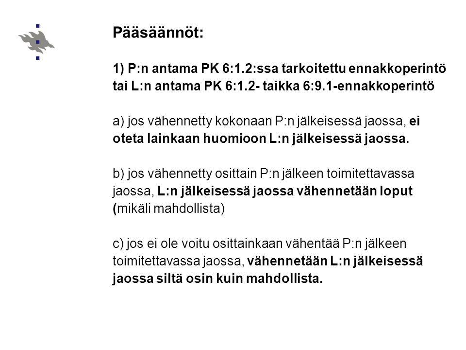 Pääsäännöt: 1) P:n antama PK 6:1.2:ssa tarkoitettu ennakkoperintö tai L:n antama PK 6:1.2- taikka 6:9.1-ennakkoperintö.