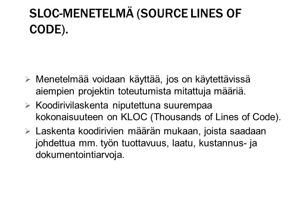 SLOC-menetelmä (Source Lines of Code).