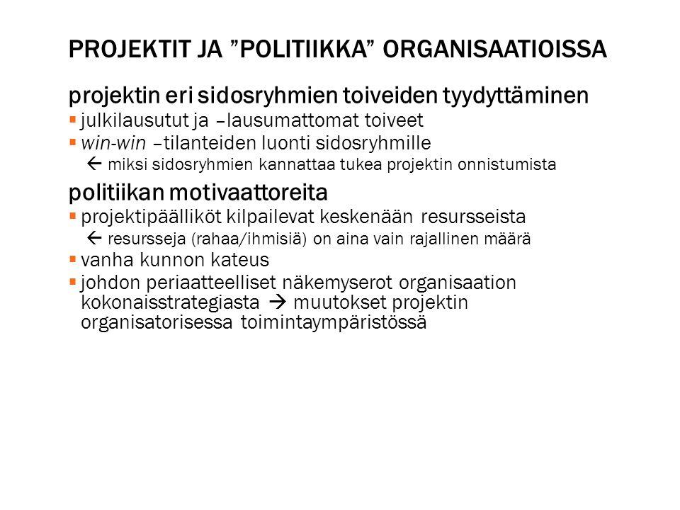 Projektit ja politiikka organisaatioissa