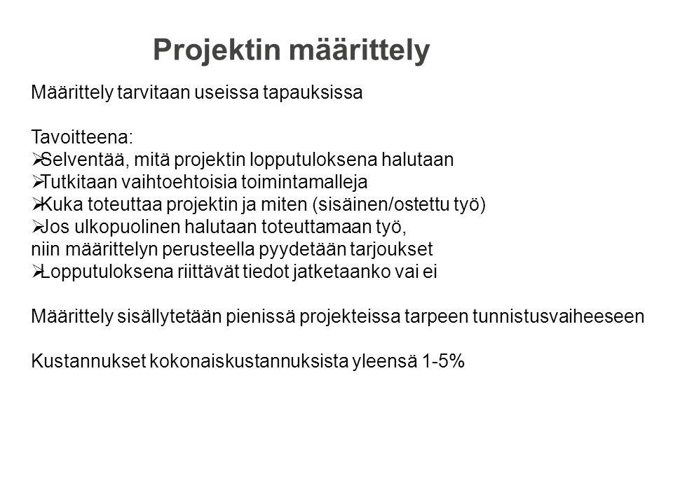 Projektin määrittely Määrittely tarvitaan useissa tapauksissa