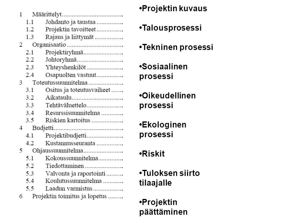 •Projektin kuvaus •Talousprosessi. •Tekninen prosessi. •Sosiaalinen prosessi. •Oikeudellinen prosessi.