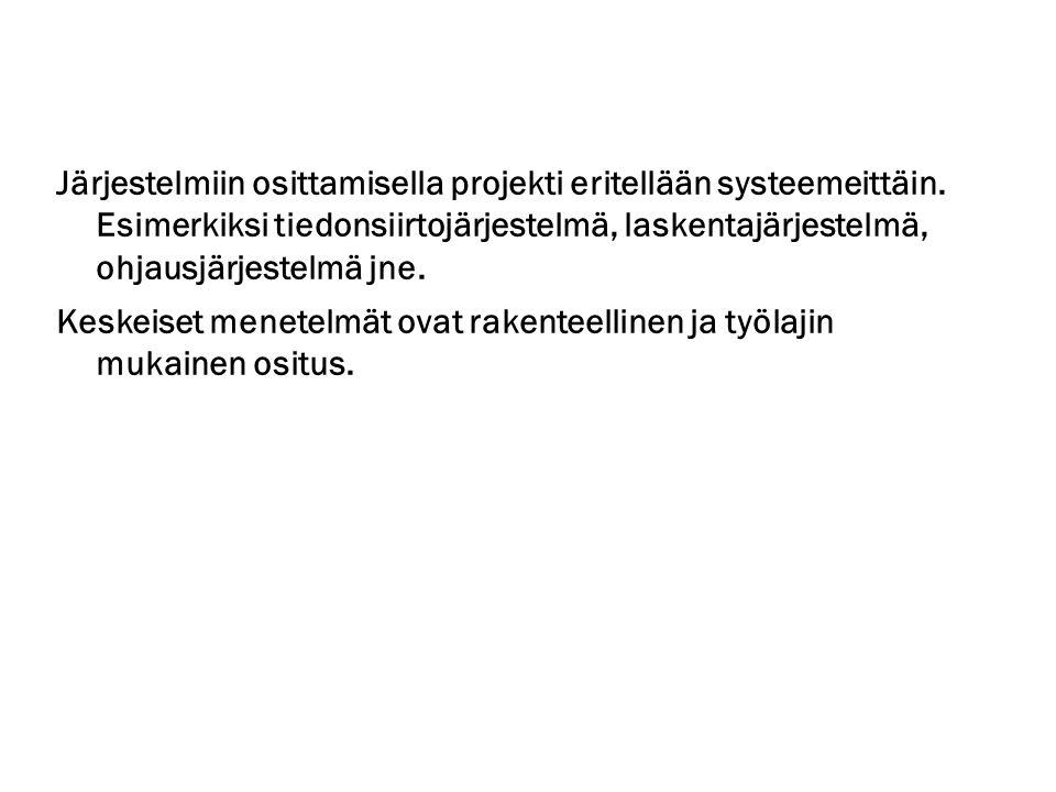 Järjestelmiin osittamisella projekti eritellään systeemeittäin