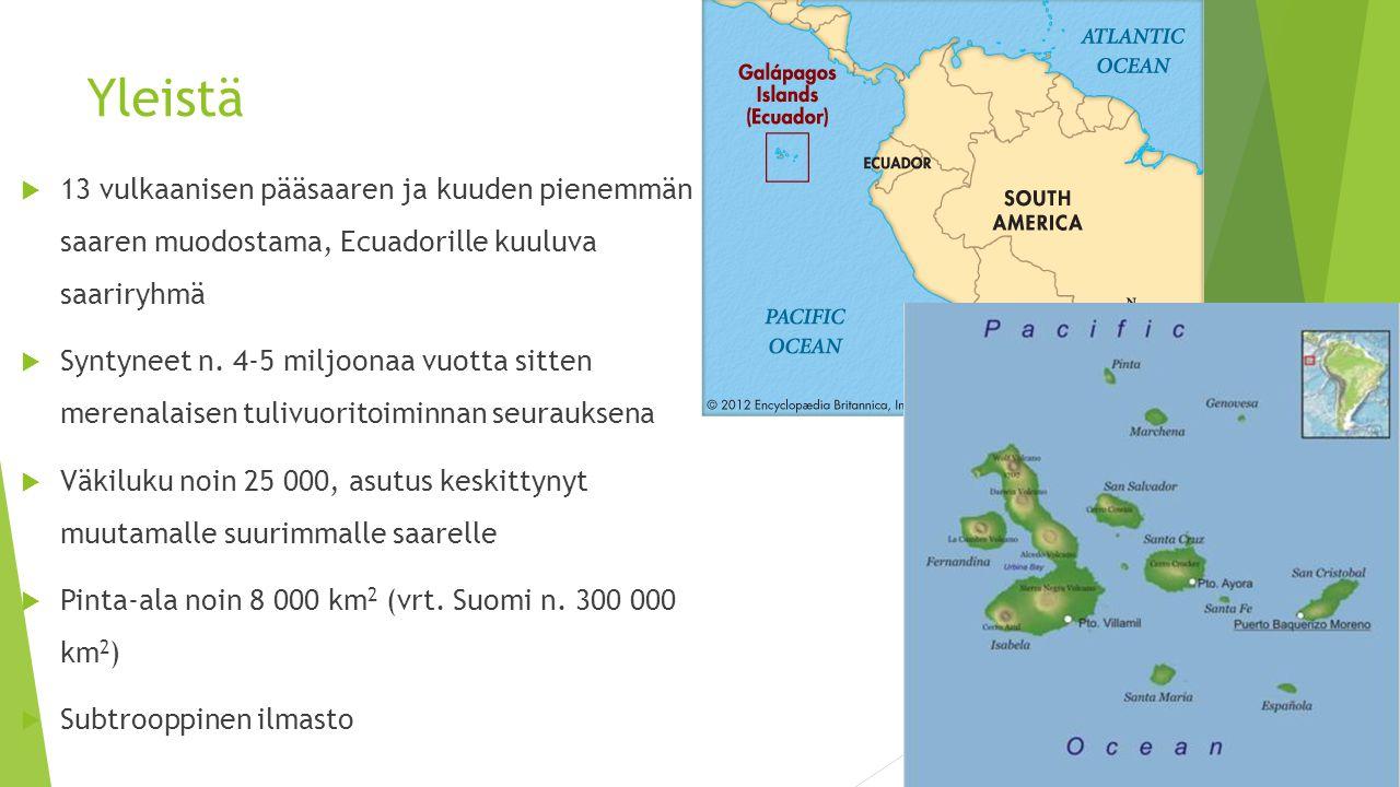 Yleistä 13 vulkaanisen pääsaaren ja kuuden pienemmän saaren muodostama, Ecuadorille kuuluva saariryhmä.