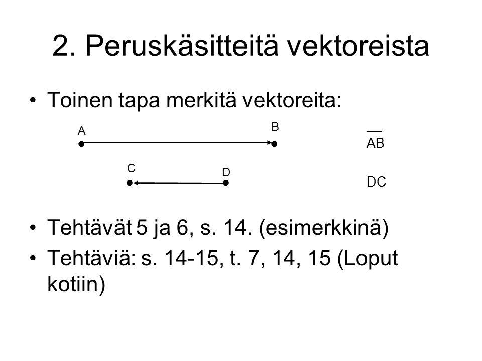 2. Peruskäsitteitä vektoreista