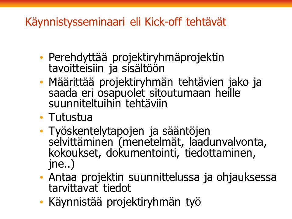 Käynnistysseminaari eli Kick-off tehtävät