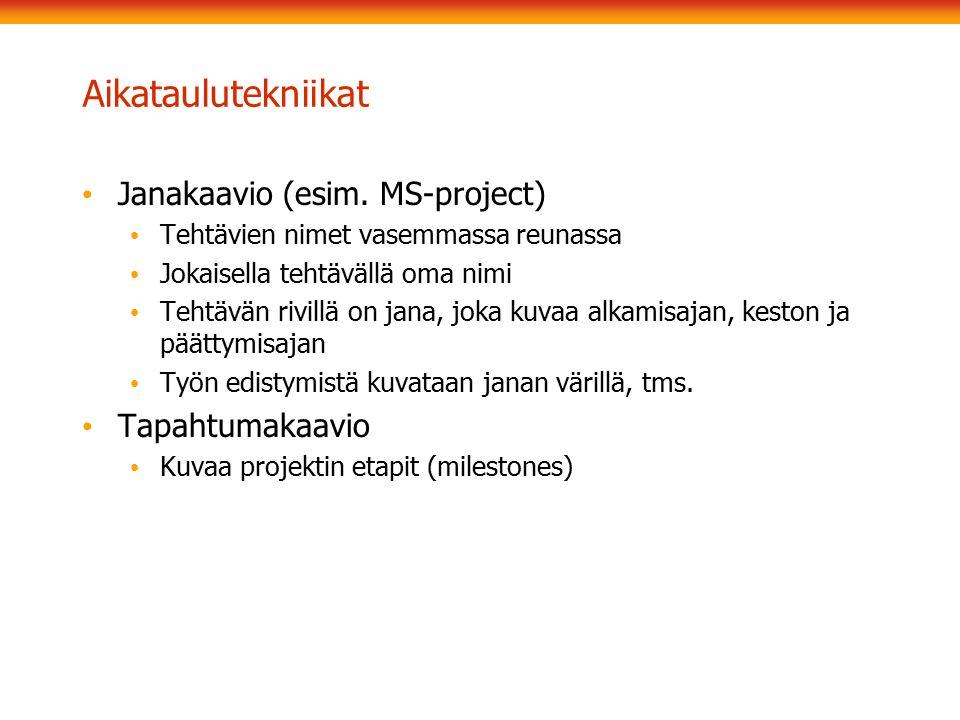 Aikataulutekniikat Janakaavio (esim. MS-project) Tapahtumakaavio