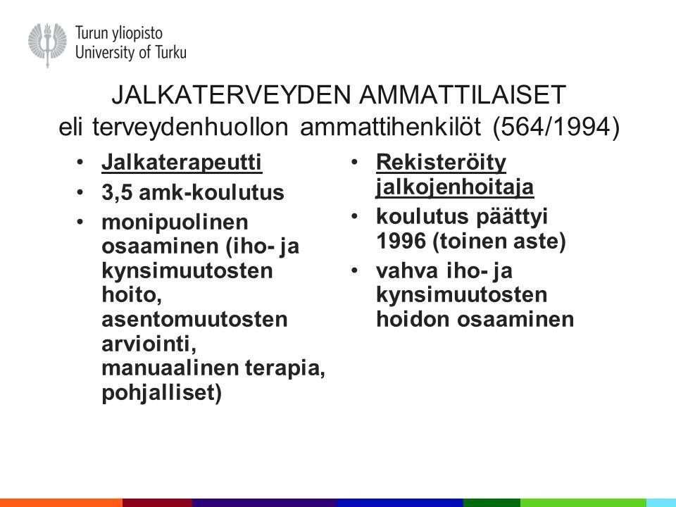 JALKATERVEYDEN AMMATTILAISET eli terveydenhuollon ammattihenkilöt (564/1994)
