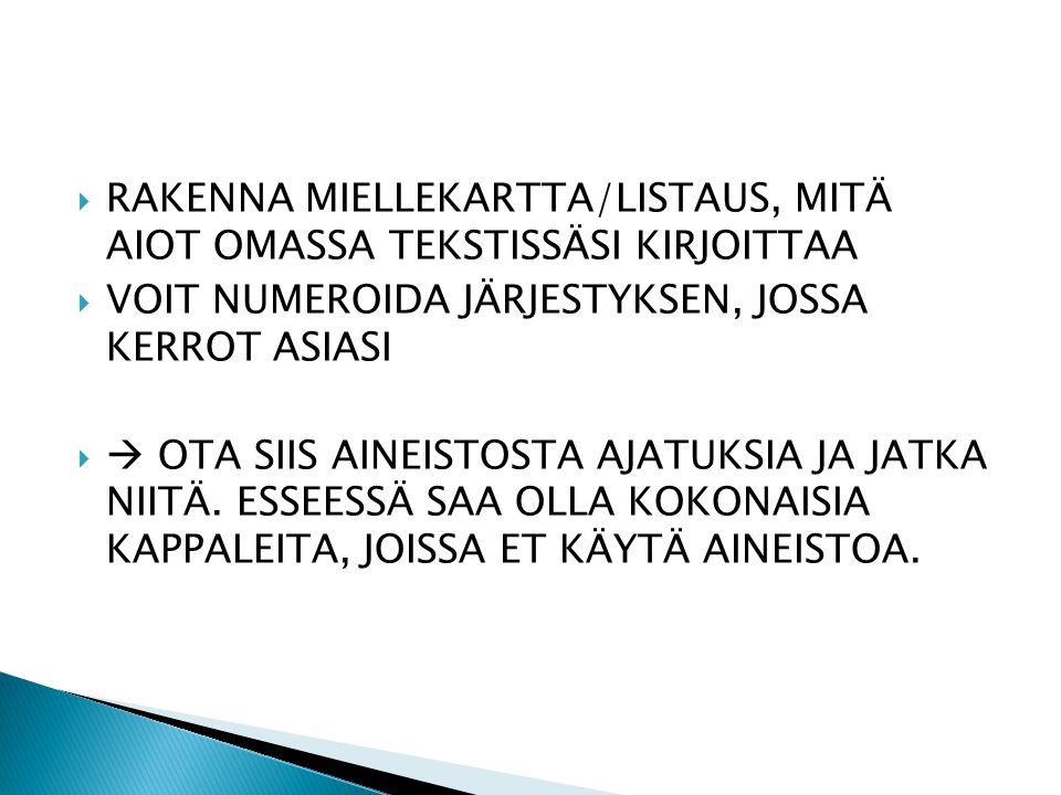 RAKENNA MIELLEKARTTA/LISTAUS, MITÄ AIOT OMASSA TEKSTISSÄSI KIRJOITTAA