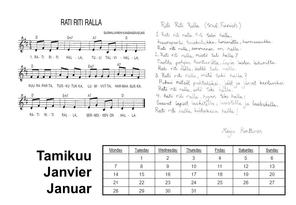 Tamikuu Janvier Januar Monday Tuesday Wednesday Thursday Friday