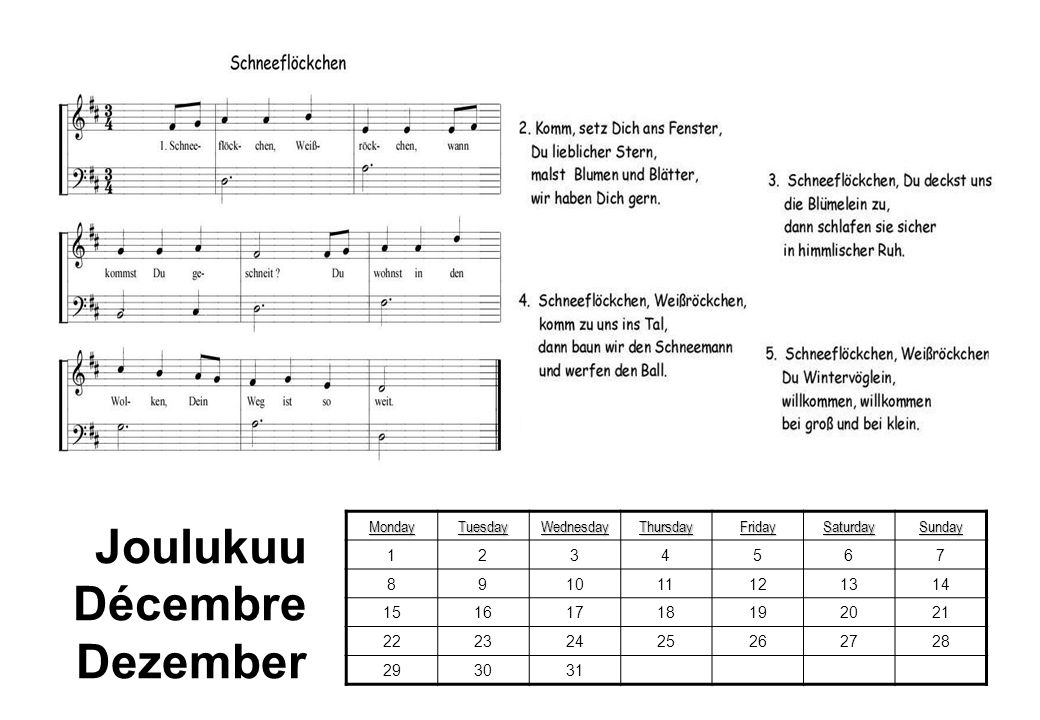 Joulukuu Décembre Dezember Monday Tuesday Wednesday Thursday Friday