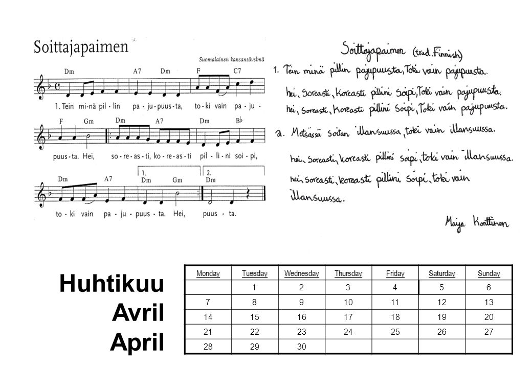 Huhtikuu Avril April Monday Tuesday Wednesday Thursday Friday Saturday