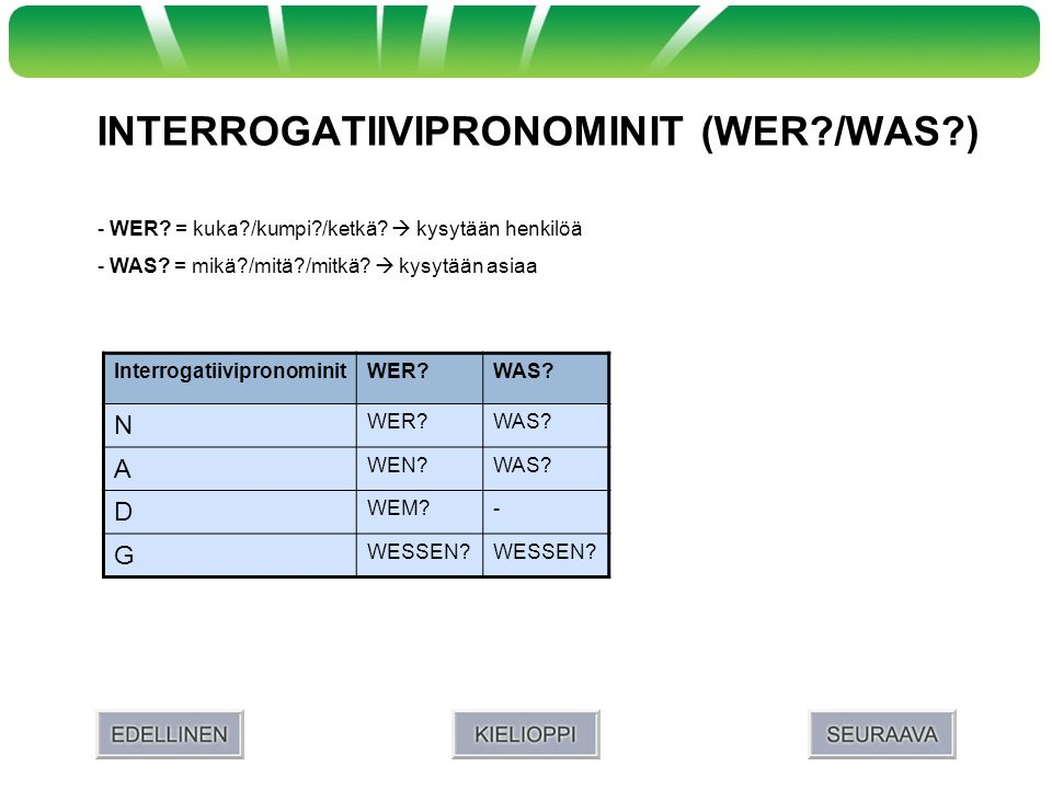 INTERROGATIIVIPRONOMINIT (WER /WAS )