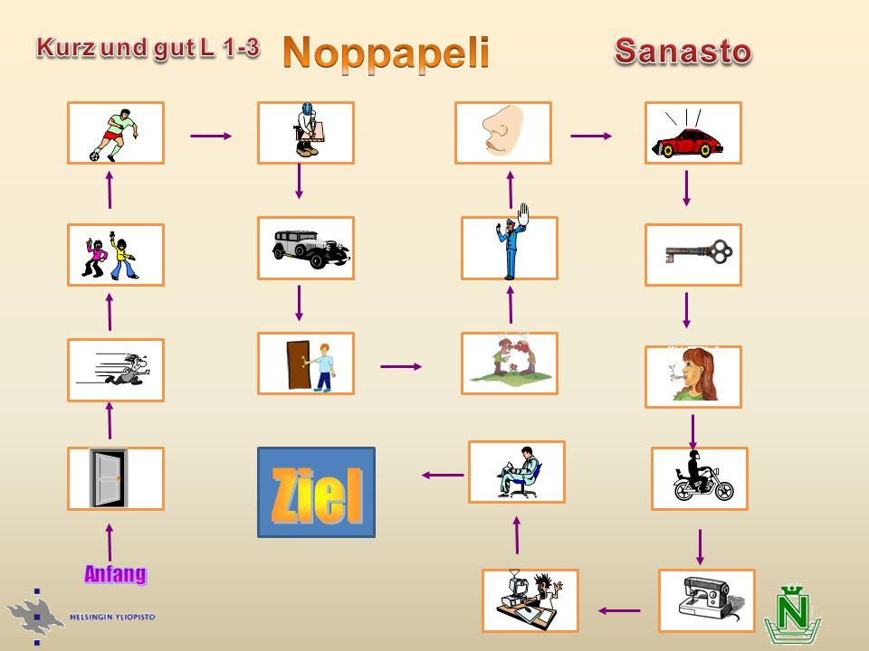 Noppapeli Kurz und gut L 1-3 Sanasto Ziel Anfang