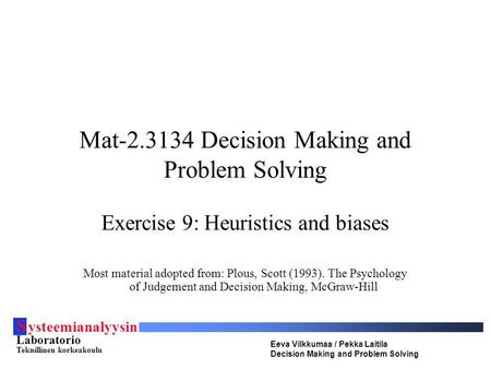 Mat Decision Making and Problem Solving