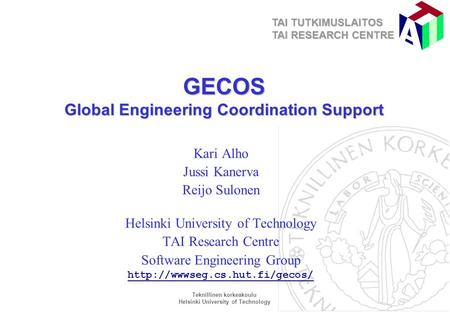 GECOS Global Engineering Coordination Support