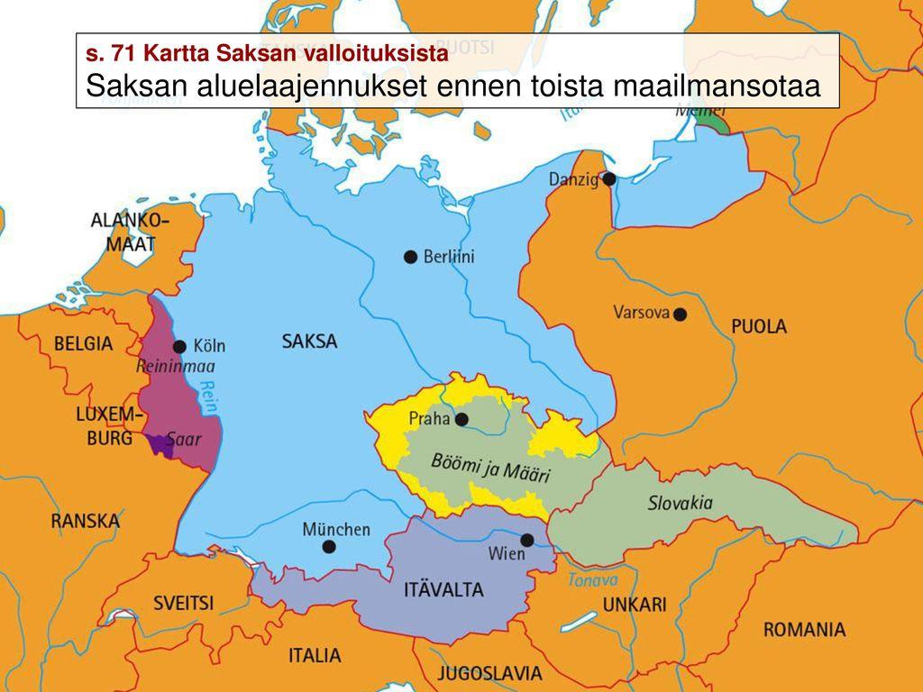 Saksan Aluelaajennukset Ennen Toista Maailmansotaa Kartta Sivu