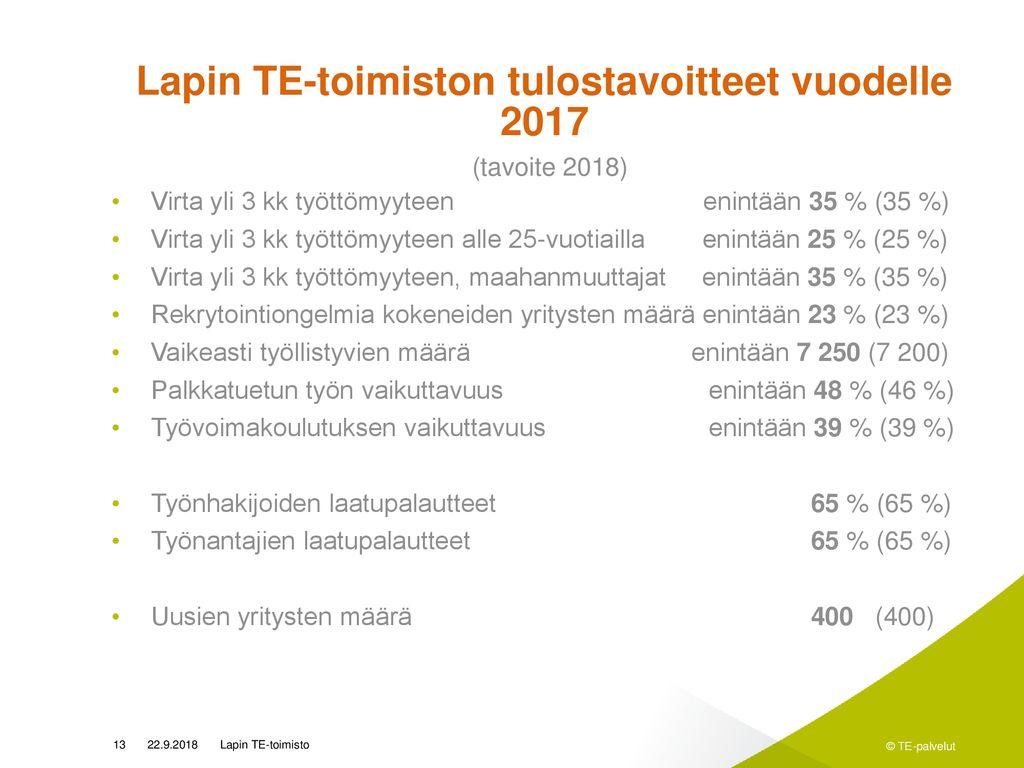 Lapin TE-keskuksen ohjeet työttömäksi rekisteröityville asiakkaille
