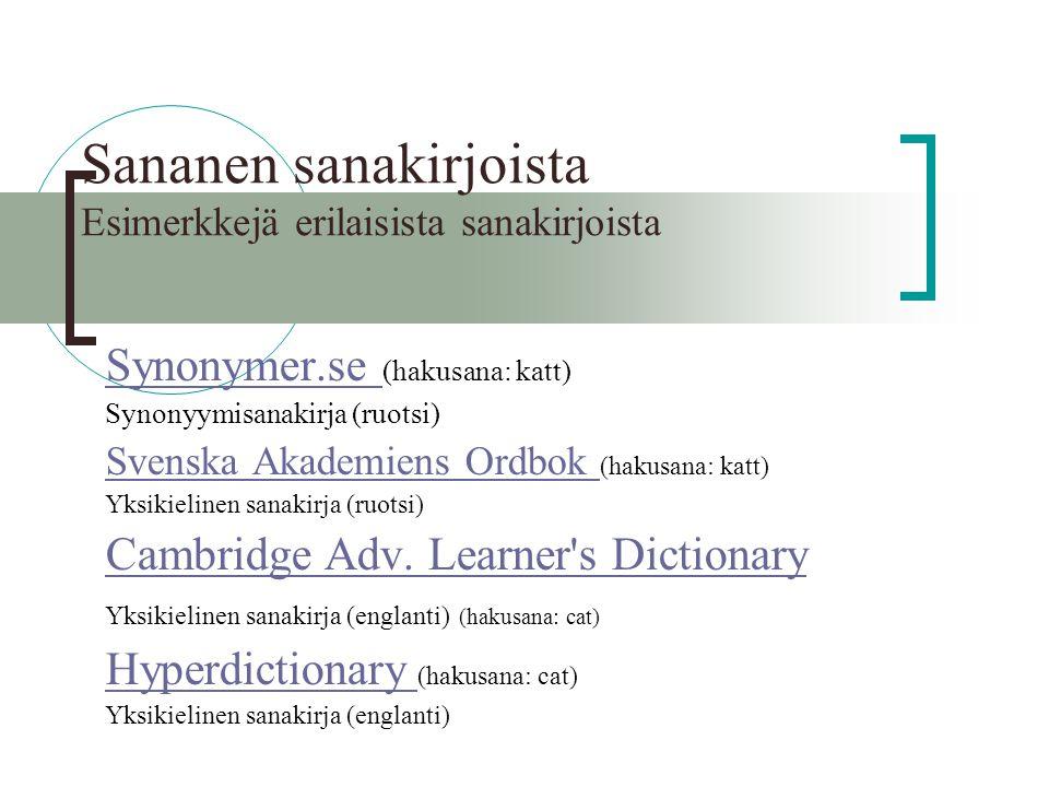 sanakirja. org suomi englanti