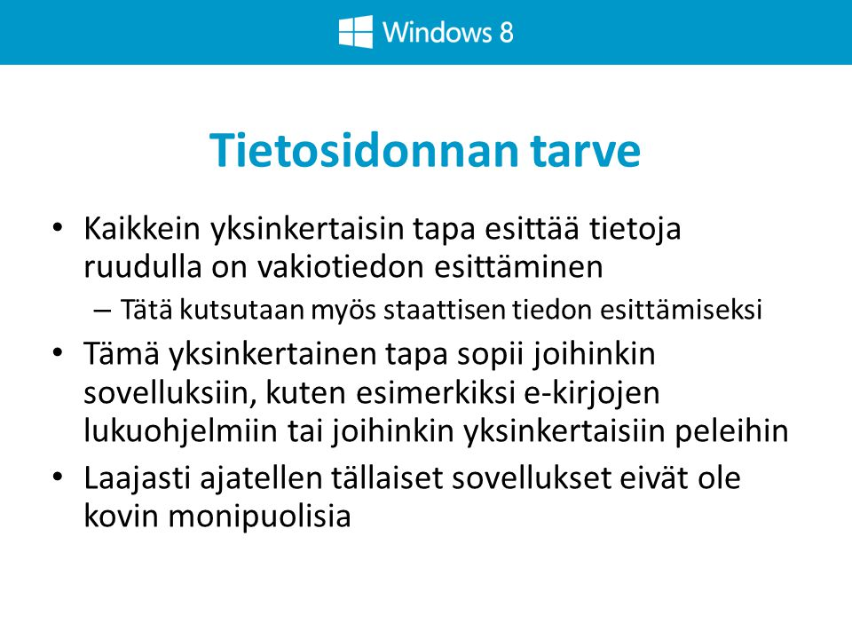 Windows 8-sovelluksen kytkennät