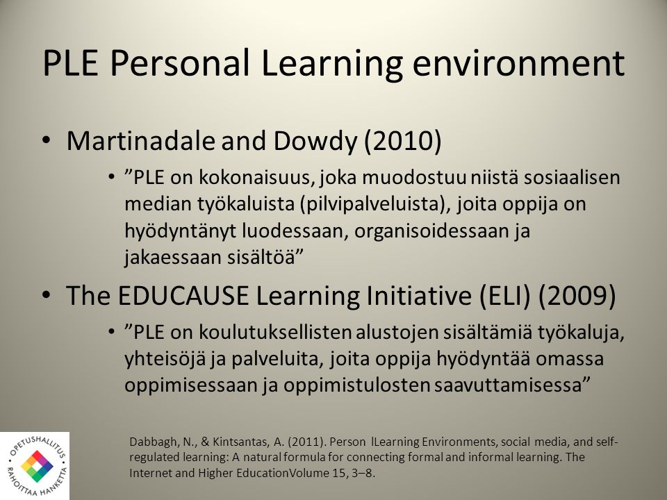 PLE Personal Learning environment