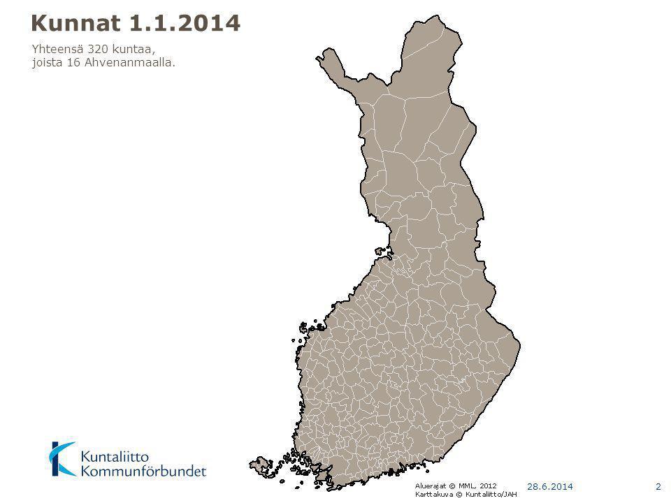 Aluejaot 2014 Kunnat Maakunnat Seutukunnat 2013 Suuralueet