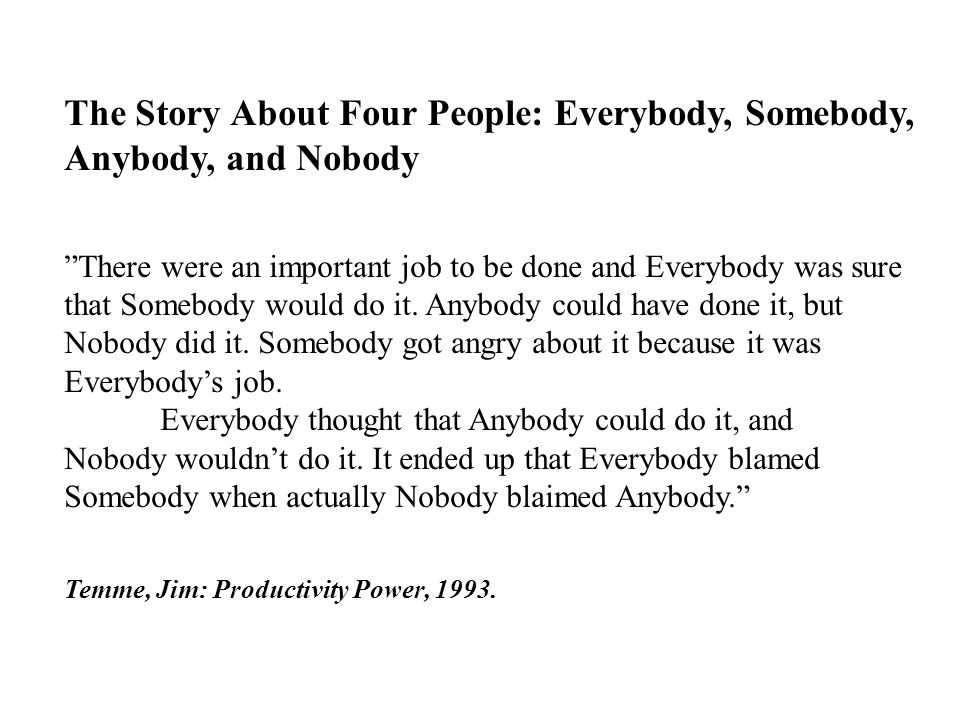 The Story About Four People: Everybody, Somebody, Anybody, and Nobody