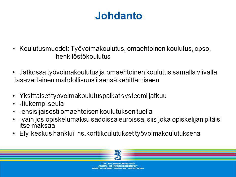 Taloudellinen tuki työvoimakoulutuksen aikana – Suomi