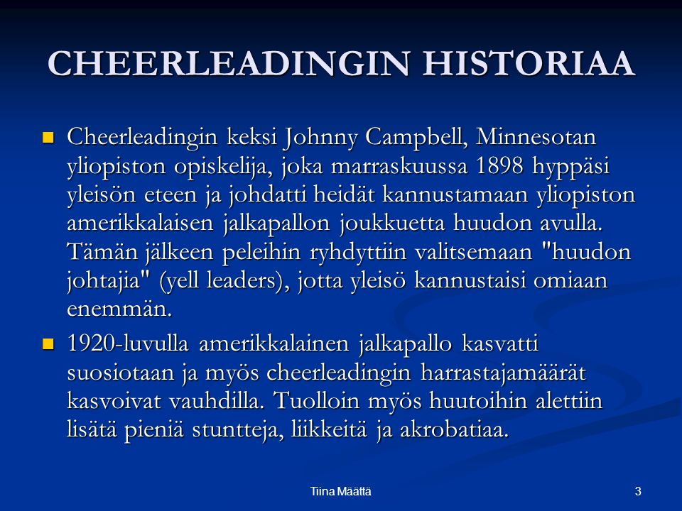 CHEERLEADINGIN HISTORIAA