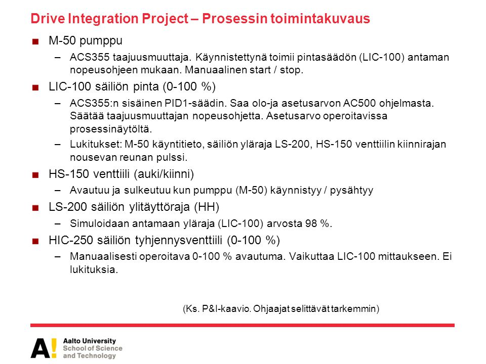 Drive Integration Project – Prosessin toimintakuvaus