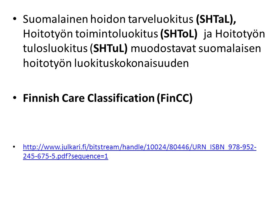 Finnish Care Classification (FinCC)