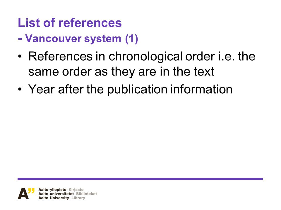 List of references - Vancouver system (1)