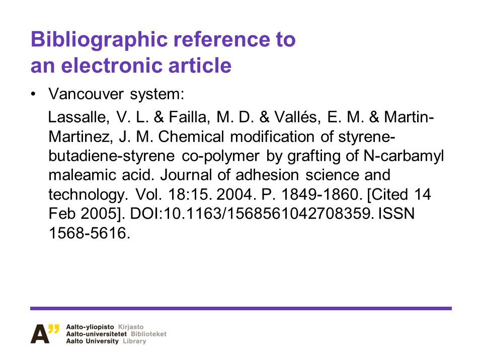 Bibliographic reference to an electronic article