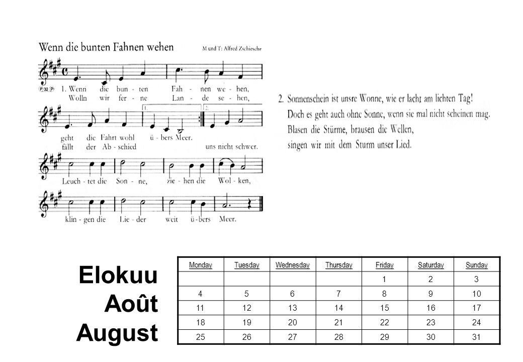 Elokuu Août August Monday Tuesday Wednesday Thursday Friday Saturday