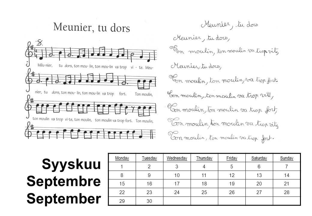 Syyskuu Septembre September Monday Tuesday Wednesday Thursday Friday